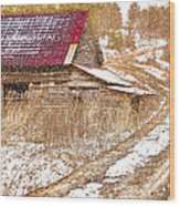 Red Roof In The Snow  Wood Print