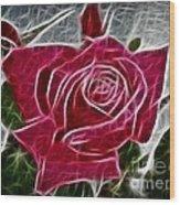 Red Rose Expressive Brushstrokes Wood Print