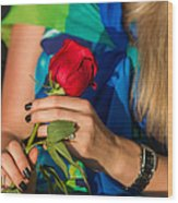 Red Rose - Featured 3 Wood Print