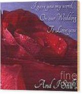 Red Rose Romantic Greeting Card Wood Print