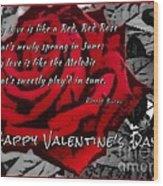Red Rose Valentine Wood Print