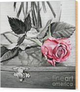 Red Rosebud Wood Print