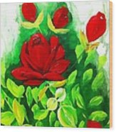 Red Roses From The Garden Impression Wood Print