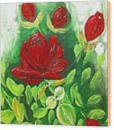 Red Roses From The Garden Wood Print