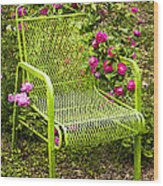 Red Roses Green Chair Wood Print by Lena Auxier