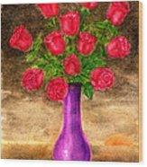 Red Roses In A Purple Vase Wood Print