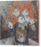 Red Roses In A Vase Wood Print