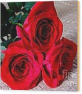 Red Roses On Lauhala Wood Print