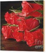 Red Roses On Wood Floor Wood Print