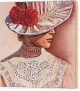 Red Roses Satin Hat Wood Print