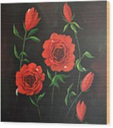 Red Roses Weeping Wood Print
