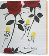 Red Roses Yellow Buds Wood Print