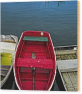 Red Rowboat Wood Print
