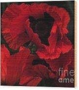 Red Ruffles Wood Print