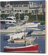 Red Sailboat Wood Print