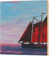 Red Sails On The Chesapeake - New Multimedia Acrylic/oil Painting Wood Print