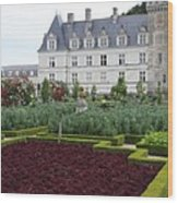 Red Salad And Cabbage Garden - Chateau Villandry Wood Print