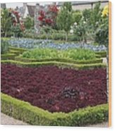 Red Salad And Roses - Chateau Villandry Garden Wood Print