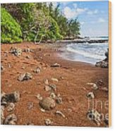 Red Sand Seclusion - The Exotic And Stunning Red Sand Beach On Maui Wood Print