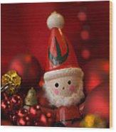 Red Santa Wood Print