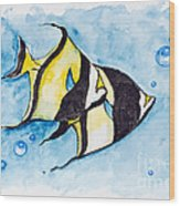 Red Sea Banner Fish  Wood Print