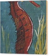 Red Seahorse - Sold Wood Print