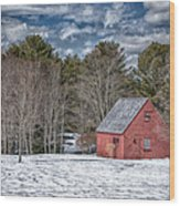 Red Shed In Maine Wood Print by Guy Whiteley