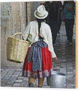 Red Skirted Woman Of Cuenca Wood Print