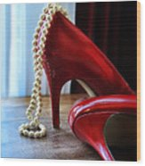 Red Shoes And Pearls Wood Print