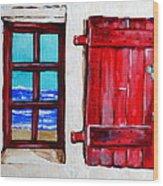 Red Shutter Ocean Wood Print