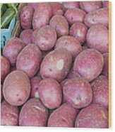 Red Skin Potatoes Stall Display Wood Print