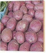 Red Skin Potatoes Stall Display Wood Print by JPLDesigns