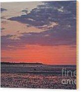 Red Sky At Sword Beach Wood Print