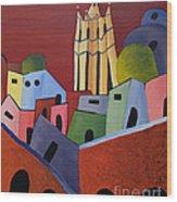 Red Sky In San Miguelle De Allende Wood Print