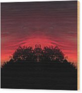 Red Sky In The Morning 02 Mirror Image Wood Print