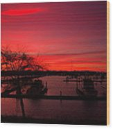 Red Sky In The Morning Two Wood Print