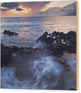 Red Sky Over Lanai Wood Print by Mike  Dawson