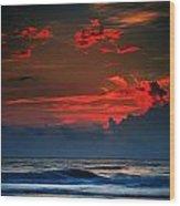 Red Sky Over Ocean Wood Print