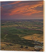 Red Sky Over The Palouse Wood Print