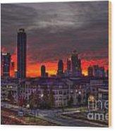 Red Sky Sunrise Midtown Atlanta Wood Print