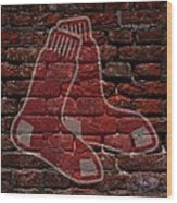 Red Sox Baseball Graffiti On Brick  Wood Print