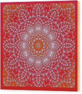 Red Space Flower Wood Print