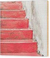 Red Stone Steps Wood Print