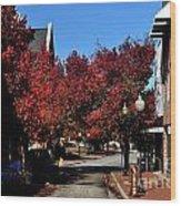 Red Street Wood Print