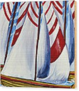 Red Stripe Sails Wood Print
