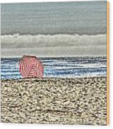 Red Striped Umbrella At The Beach Wood Print