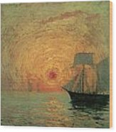 Red Sun Wood Print by Maxime Maufra
