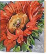 Red Sunflower Wood Print