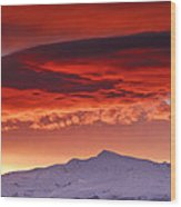 Red Sunrise Over National Park Sierra Nevada Wood Print