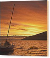 Red Sunrise Wood Print